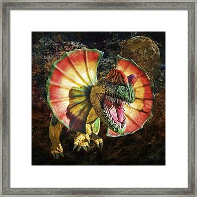 Dilophosaurus Spitting Dinosaur Framed Print