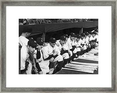 Dimaggio In Yankee Dugout Framed Print by Underwood Archives