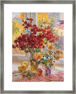 Dima's Bouquet Framed Print by Victoria Kharchenko