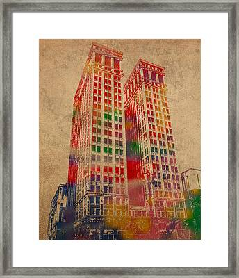 Dime Building Iconic Buildings Of Detroit Watercolor On Worn Canvas Series Number 1 Framed Print by Design Turnpike