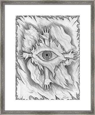 Framed Print featuring the drawing Dimension 4 by Roz Abellera Art