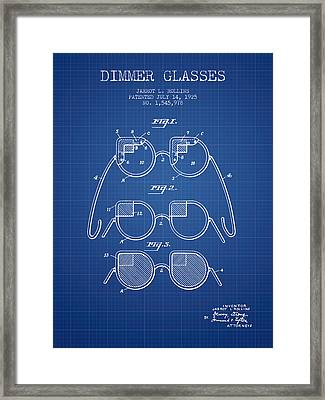 Dimmer Glasses Patent From 1925 - Blueprint Framed Print by Aged Pixel