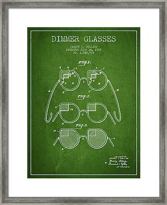 Dimmer Glasses Patent From 1925 - Green Framed Print by Aged Pixel