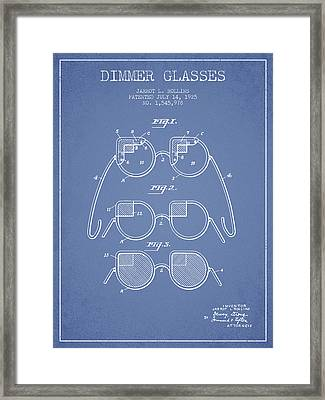Dimmer Glasses Patent From 1925 - Light Blue Framed Print by Aged Pixel