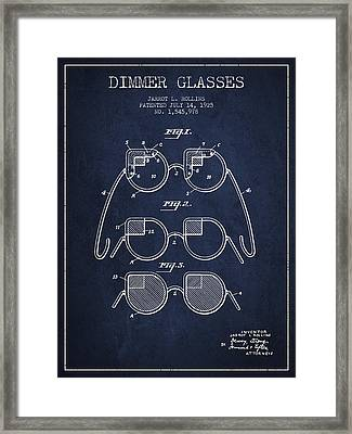 Dimmer Glasses Patent From 1925 - Navy Blue Framed Print