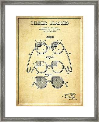 Dimmer Glasses Patent From 1925 - Vintage Framed Print by Aged Pixel