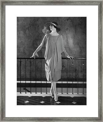 Dinarzade Wearing A Crepe Dress Framed Print