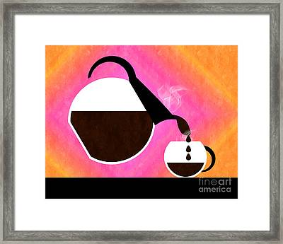 Diner Coffee Pot And Cup Sorbet Pouring Framed Print by Andee Design