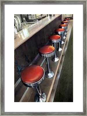 Diner Stools Framed Print by Cindy McIntyre