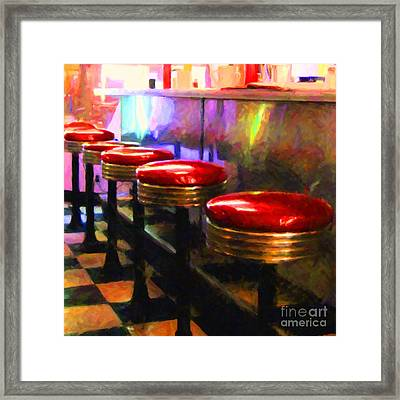 Diner - V2 - Square Framed Print by Wingsdomain Art and Photography