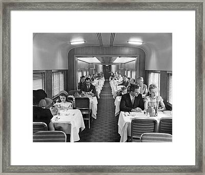 Diners In Railroad Dining Car Framed Print