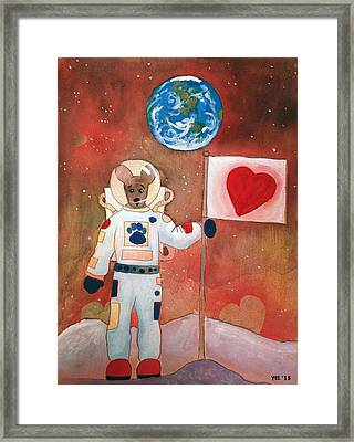 Dingo Love Conquers The Moon Framed Print by Yvonne Lozano