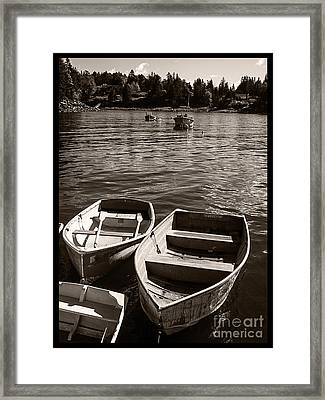 Dingy Docked In Seal Cove Maine Framed Print