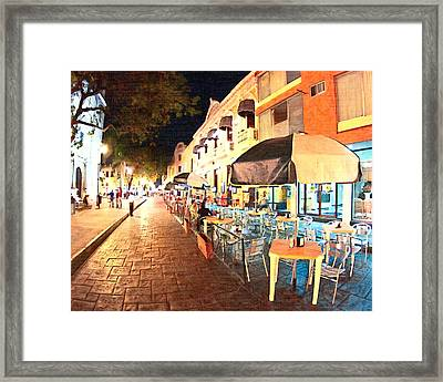 Dining Al Fresco In Merida Framed Print by Mark Tisdale