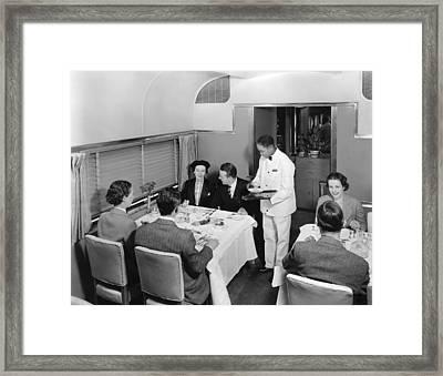 Dining Car On Denver Zephyr Framed Print by Underwood Archives