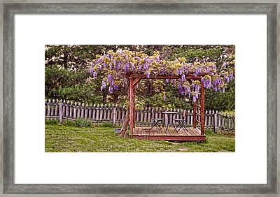 Dining For Two Under Wisteria 2 Framed Print