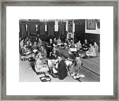 Dining In A Japanese Restaurant, Framed Print