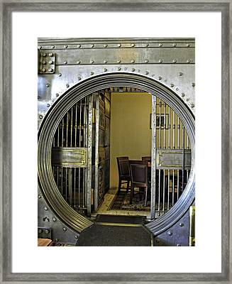 Dining In The Vault At Metals Bank Framed Print by Image Takers Photography LLC - Laura Morgan