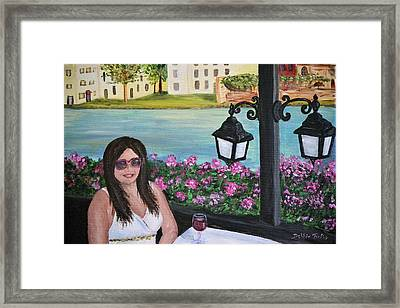 Framed Print featuring the painting Dining In Venice by Debbie Baker