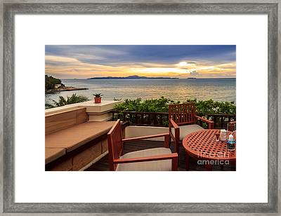 Dining Romance Sea View Framed Print by Niphon Chanthana