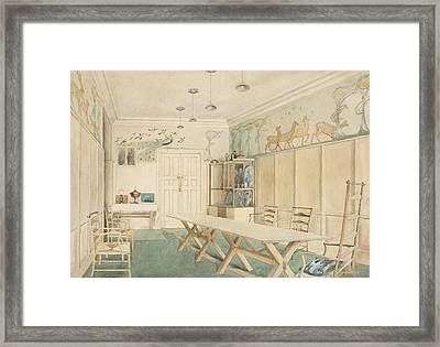 Dining Room At 37 Cheyne Walk, Chelsea Framed Print by Charles Robert Ashbee