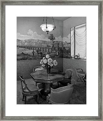 Dining Room In Helena Rubinstein's Home Framed Print by F. S. Lincoln