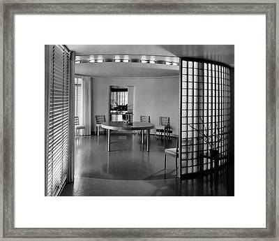 Dining Room In Mr. And Mrs. Alfred J. Bromfield Framed Print by  Hedrich-Blessing