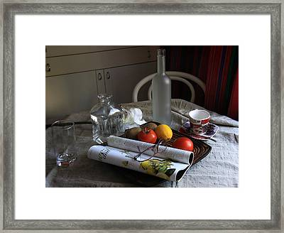 Dining Room Still Life With A Cup Of Coffee. Framed Print