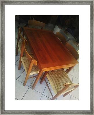 Dining Room Table Framed Print by Unique Consignment