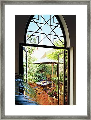 Dining Table At Patio Framed Print