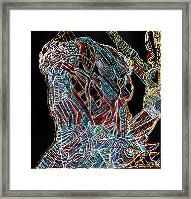 Framed Print featuring the painting Dinka Warrior by Gloria Ssali