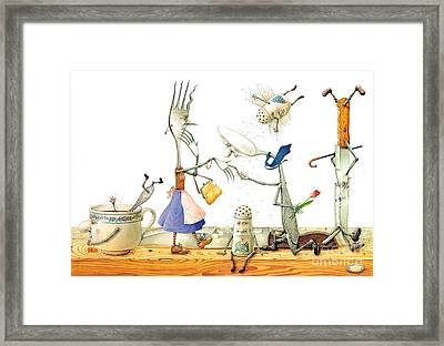Dinner Accident Framed Print by Kestutis Kasparavicius