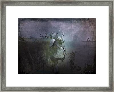 Framed Print featuring the digital art Dinner Alone by Kylie Sabra