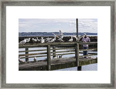Dinner At The Marina Framed Print by Cathy Anderson