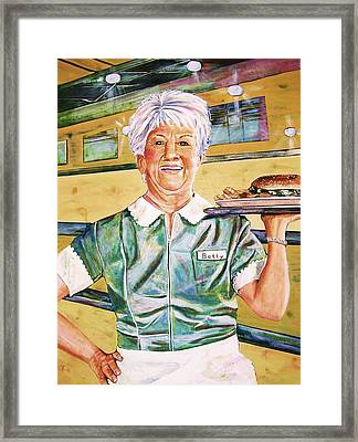 Dinner Betty Framed Print by Linda Vaughon