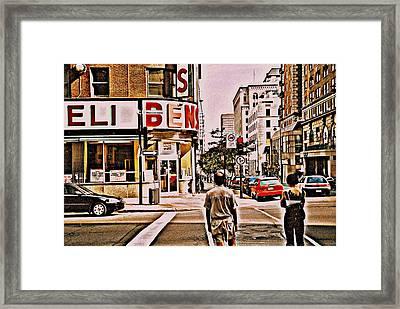 Dinner For Two Ben's Restaurant Downtown Scenes Montreal Memories Corner De Maisonneuve Framed Print by Carole Spandau