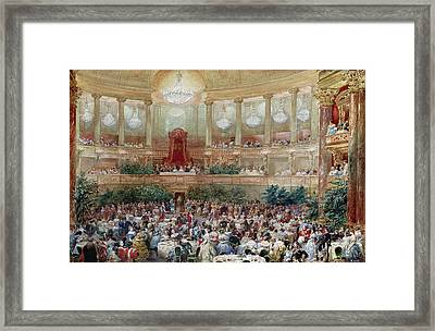 Dinner In The Salle Des Spectacles At Versailles Framed Print by Eugene-Louis Lami