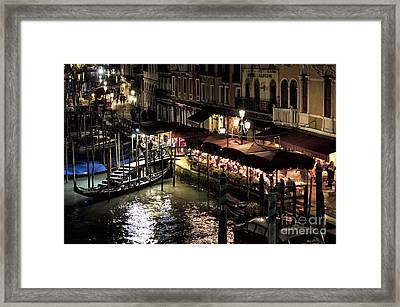Dinner On The Grand Canal At Night Framed Print