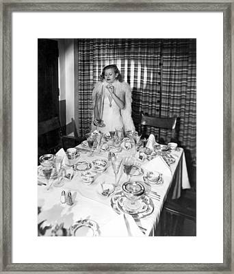 Dinner Party Table Setting Framed Print