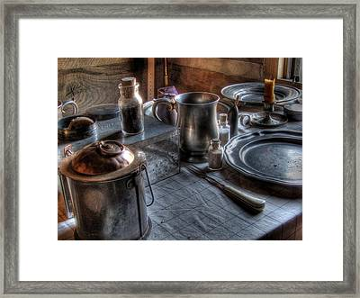 Dinner Table Framed Print by Jane Linders