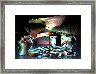 Framed Print featuring the digital art Dinnerware by Jacqueline Lloyd