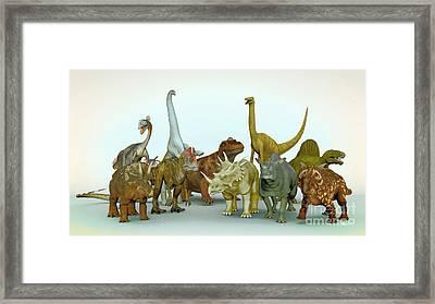 Dino Meeting Framed Print