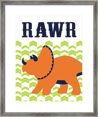 Dino Rawr Framed Print by Tamara Robinson