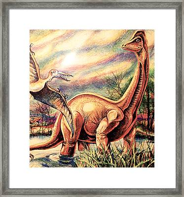 Framed Print featuring the drawing Dinos by Linda Shackelford