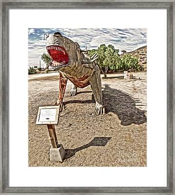 Dinosaur Atack Framed Print by Gregory Dyer