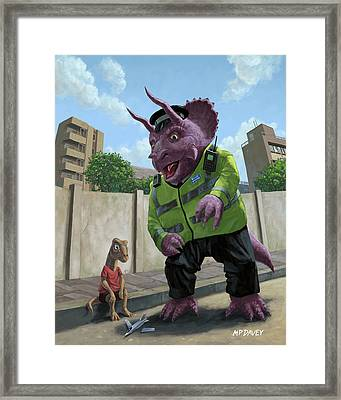 Dinosaur Community Policeman Helping Youngster Framed Print by Martin Davey