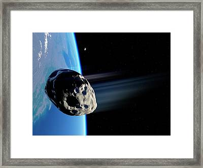Dinosaur Extinction Asteroid Framed Print