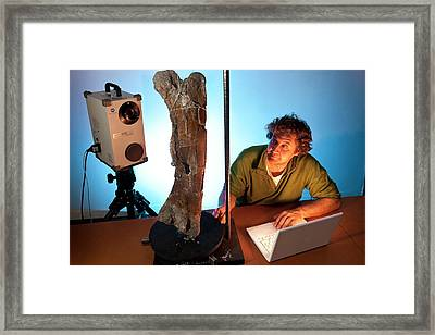 Dinosaur Fossil 3d Scanning Framed Print by Philippe Psaila