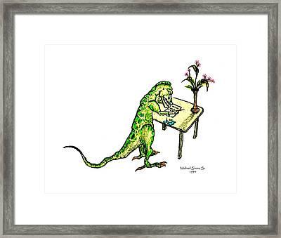 Dinosaur Get Well Sorry Miss You Condolences Sympathy Blank Framed Print
