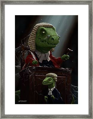 Dinosaur Judge In Uk Court Of Law Framed Print by Martin Davey
